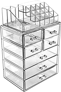 Sorbus Cosmetic Makeup and Jewelry Storage Case Display - Spacious Design - Great for Bathroom Dresser Vanity and Countertop  3 Large 4 Small Drawers Clear