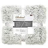 CelinaTex Shetland Bettwäsche 220 x 240 cm 3-teilig Creme grau Polar-Fleece Bettbezug Flokati Optik Bett Garnitur