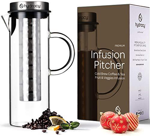 Cold Brew Cafetera de infusiond e cafe y te fria - Jarra grande de cristal 1,5L - Jarra helado con tapa de acero inoxidable y filtro de malla - Tubo ADICIONAL para infusiones de frutas