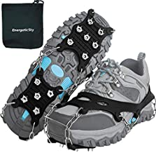 EnergeticSky Ice Cleats Spikes Crampons and Tread for Snow & Ice,The Only Innovative Design on Amazon,Attaches Over Shoes/Boots for Everyday Safety in Winter,Outdoor,Slippery Terrain. (Large)