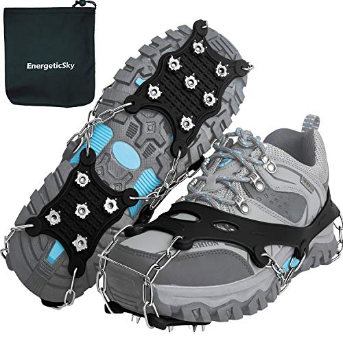EnergeticSky Ice Cleats Spikes Crampons and Tread for Snow & Ice,The Only Innovative Design on Amazon,Attaches Over Shoes/Boots for Everyday Safety in Winter,Outdoor,Slippery Terrain. (Medium)