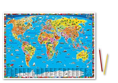 """Erlebniskarte """"Illustrierte politische Weltkarte"""" Schreibunterlage"""