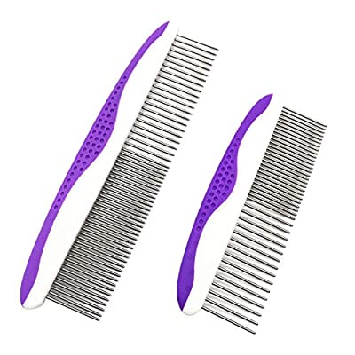 C&Y 2 Pack Dog Combs for Grooming, Small and Large Comb for Removes Tangles, Knots, Loose Fur and Dirt. Stainless Steel Teeth Comb with Rounded and Smooth Ends, Comfortable Non-Slip Handle Pet Comb by C&Y Inc