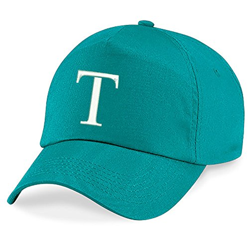 4sold Children's Embroidery Cotton Summer Sun Hat Children School Kids Hat Sport Alphabet A-Z Boy Adjustable Baseball Hat Emerald Green(Size: One Size)