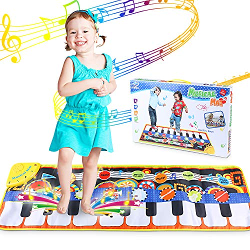 WOSTOO Piano Music Mat, Children's Musical Mat Floor Piano Mat Keyboard Carpet Musical Dance Mat Kids Early Educational Musical Toy with 8 Music Instrument Pattern for Kids Gift (110 * 36cm)