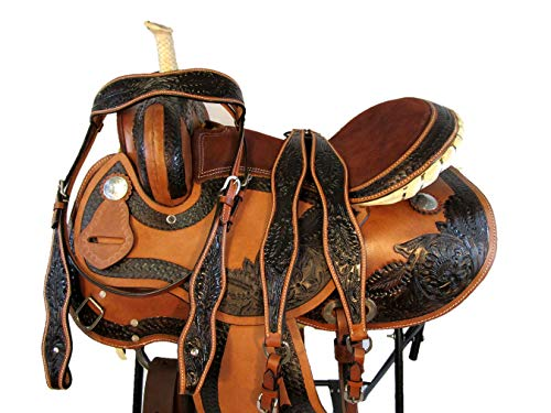 15 16 Barrel Racing Comfy Show Trail Tooled Leather Western Horse Saddle TACK