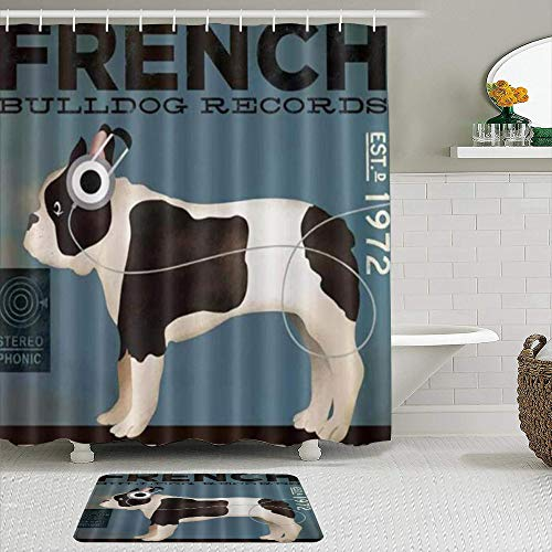 VAMIX Shower Curtain Sets with Non-Slip Rugs,French Bulldog Listening to Music Headphone,Waterproof Bath Curtains Hooks and Bath Mat Rug Included