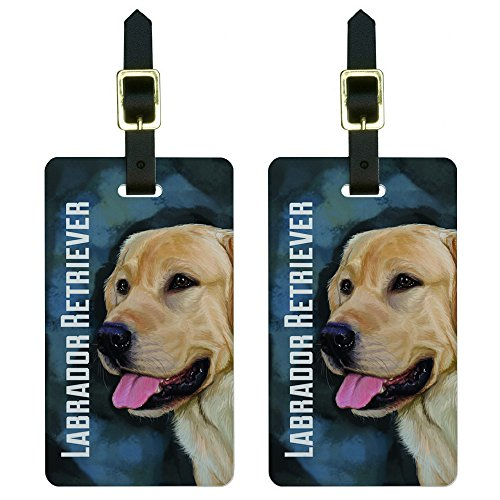 Graphics & More Yellow Labrador Retriever Blue-Dog Pet Luggage Tags Suitcase Id, White