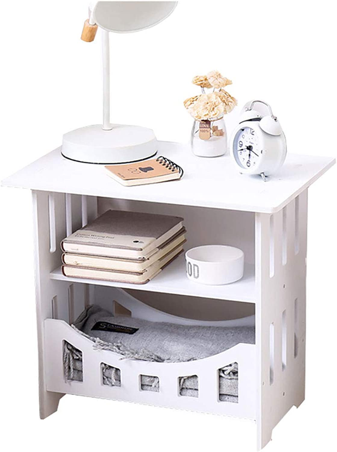 Nightstands End Tables Living Room Furniture Accent Couch with Storage Rack Drawer Compact Multipurpose White for Parlor Bedroom