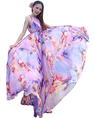MedeShe Women's Chiffon Floral Holiday Beach Bridesmaid Maxi Dress Sundress (Medium Petite, Lavender Floral)