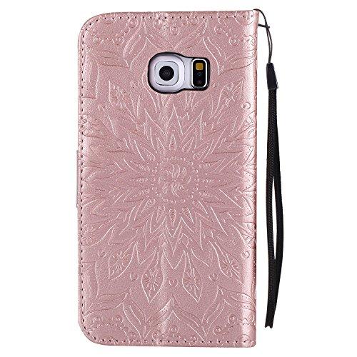 Vectady für Samsung Galaxy S6 Edge [NO für S6] Hülle, Schutzhülle Case Leder Tasche Handyhüllen mit Kartenfach Magnet Geldbörse Flip Silikon Cover Handytasche für Samsung Galaxy S6 Edge,Rose Gold