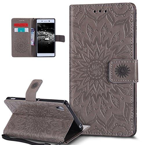 Kompatibel mit Sony Xperia Z3 Hülle,Sony Xperia Z3 Plus Hülle,Prägung Mandala Blumen Sonnenblume PU Lederhülle Flip Hülle Ständer Wallet Tasche Hülle Schutzhülle für Sony Xperia Z3/Z3 Plus/Z4,Grau
