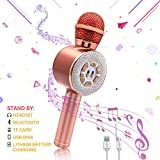 Karaoke Microphone for Kids, Wireless Bluetooth Kids Karaoke Microphone with LED Lights Compatible with Android & iOS, Handheld Portable Karaoke Machine Home KTV Player for Children (Gold)