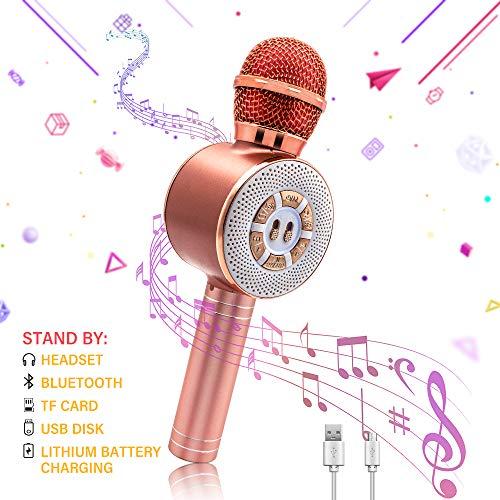GreeSuit Bluetooth karaoke microfoon luidspreker, draadloos, met LED-lampen, draagbare luidspreker, recorder, karaoke-machine, thuisspeler, voor kinderen, volwassenen, compatibel met Android en iOS