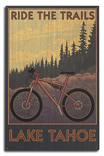 Lantern Press Lake Tahoe, California - Ride The Trails (10x15 Wood Wall Sign, Wall Decor Ready to Hang)