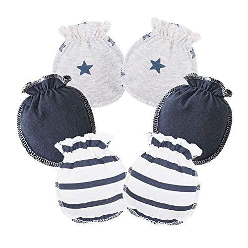 ZGJ ZGJ Affe 3 Paare Baby Mädchen Junge Handschuhe Neugeborene No Scratch Fäustlinge Säugling Kratzhandschuhe (Dunkelblau)