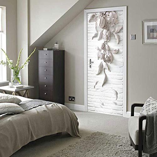 Vinilos decorativos, vinilos para puertas, imitación de flores talladas, autoadhesivas cartel de puerta autoadhesivo, imagen de pared autoadhesiva DIY, papel tapiz impermeable de PVC-95cm(W)*215cm