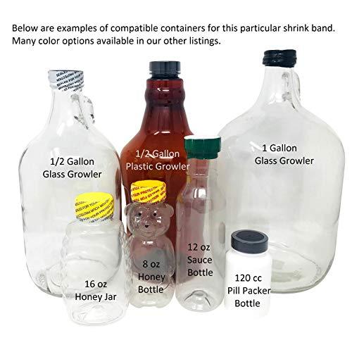 66 x 25 mm PRINTED Black Perforated Shrink Band for Growler Bottles, Pharmaceutical Bottles, Gallon Jugs, Honey Bottles…