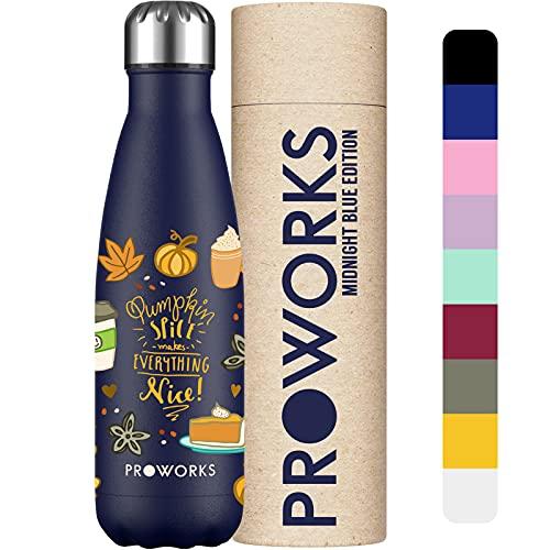 PROWORKS Bottiglia Acqua in Acciaio Inox, Vuoto Isolato Borraccia Termica in Metallo per Bevande Calde per 12 Ore & Fredde 24 Ore, Borraccia per Sport e Palestra - 500ml - Blu Notte - Spezia di Zucca