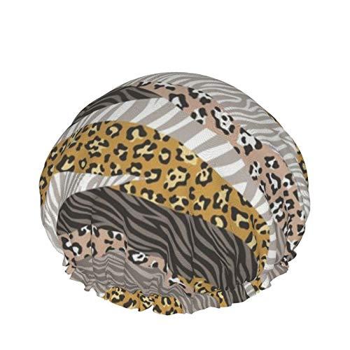 Gorros de ducha para mujer, doble capa impermeable, gorro de ducha, protección para el cabello, gorro de ducha Eva reutilizable (Cheetah Leopard Zebra Animal Stripes)