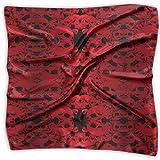 Bufanda de satén de seda de gasa para mujer, cuadrada, suave, color rojo, para cuello, bufandas de poliéster