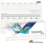 Tischquerkalender 2020 Spiralkalender quer'Papagei' Wochenplaner 1 Woche 2 Seiten, Sonn-und Feiertage in Blau, 128 Seiten
