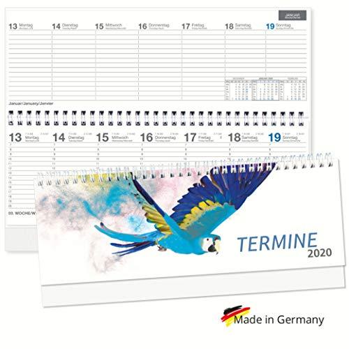 """Tischquerkalender 2020 Spiralkalender quer""""Papagei"""" Wochenplaner 1 Woche 2 Seiten, Sonn-und Feiertage in Blau, 128 Seiten"""