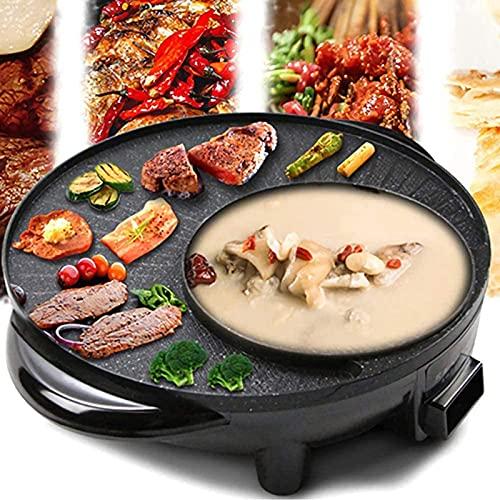 Haoranjia Parrilla eléctrica 2 en 1 para interior de humo eléctrico y Hot Pot con olla shabu, control de temperatura doble separado, capacidad para 6 personas