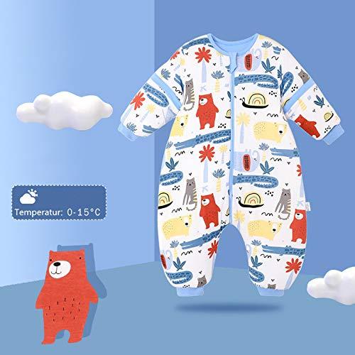 Baby Schlafsack mit Beinen Warm gefüttert winter kinder schlafsack abnehmbaren Ärmeln,Junge Mädchen Unisex Schlafanzug (Red Bear,18-36 Monate(baby height 85-95cm)) - 2
