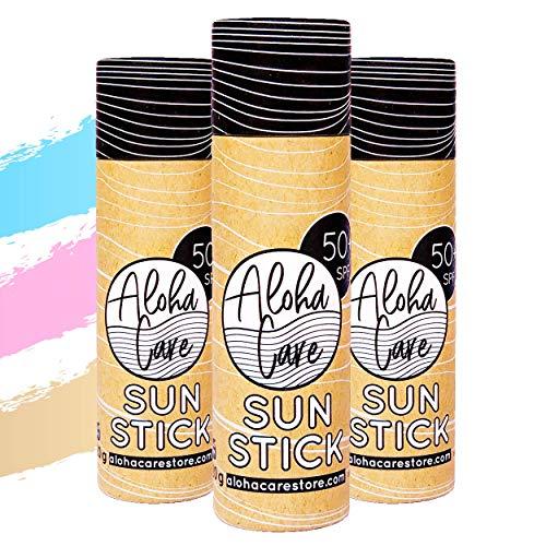 Aloha Sun Stick LSF 50+ | Gesichtsmineral Sonnenschutz zum Surfen | Eco Paper Stick 3 x 20g (3-pack) - Blau + Pink + Beige