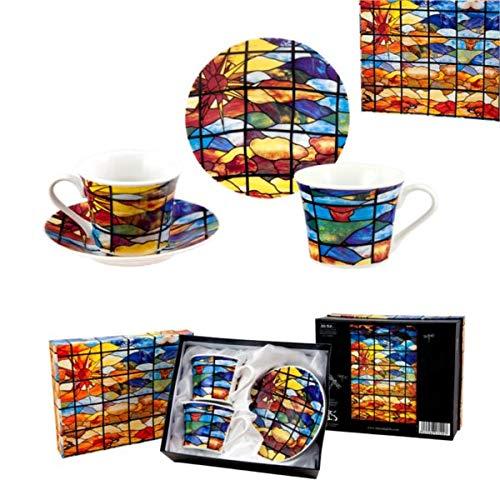 Museo Art Nouveau y Art Déco - Casa Lis - Juego de 2 Tazas y Platos de Café y Té, Porcelana Policromada, Diseño Vidriera Multicolor