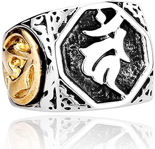 Hombre Alto Gloss Steel Steel Lucky Letra Lucky Slimas Slimas Ring, Estilo Punk Rock Vintage Personalidad Japonesa Joyas (Size : 12)