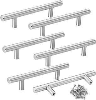 Mila-Amaz 6Pcs Maniglia per Mobili T Bar Tubo in Acciaio Inox Maniglie a Corrimano Maniglie a Barra