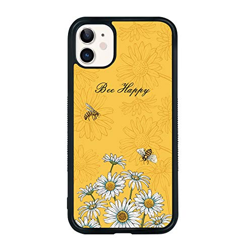 Bee Phone Case Compatible with iPhone 11 6.1 Inch - Shockproof Protective TPU Aluminum Cute Cool Cartoon Phone Case Designed for iPhone 11 Case for Girls Women Yellow