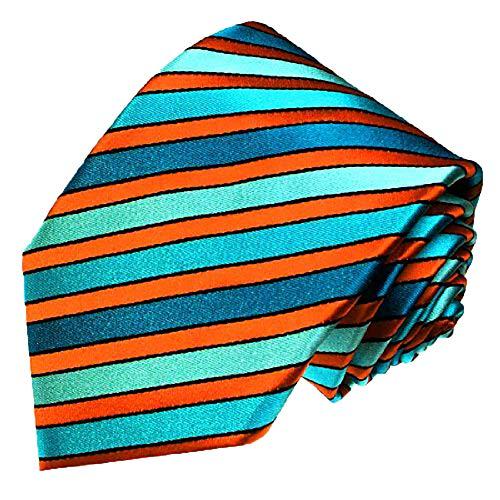 Lorenzo Cana - Marken Krawatte aus 100{c91968b0cf819e3ff89070586b4daa7736c539cf984a7cc5719d53ebb2803527} Seide - Schlips türkis orange petrol gestreift - 84428