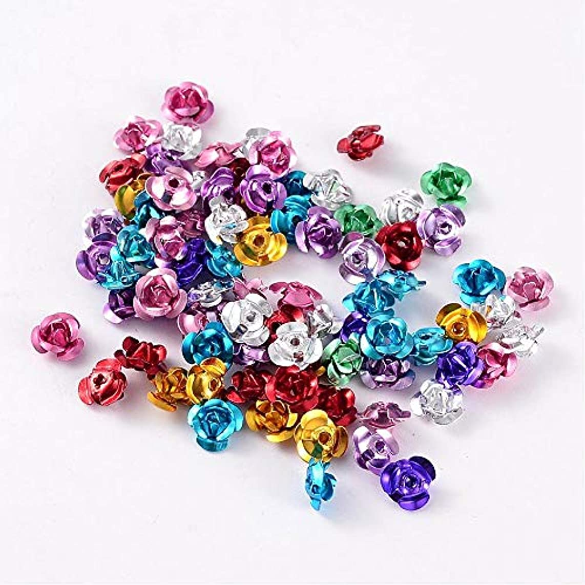 PEPPERLONELY Brand 200PC Mixed Color Aluminum Rose Flower Tiny Metal Beads 6mmx4.5mm