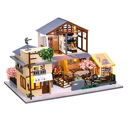 Casa de muñecas en miniatura con muebles Kit de casa de muñecas de bricolaje hecho a mano con LED y caja de música, rompecabezas 3D a escala 1:24, juguetes creativos de casa de muñecas para regalo de
