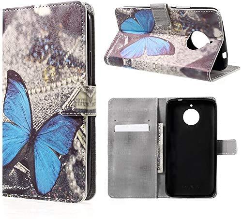 compatibile per MOTOROLA (MOTO E4) XT1762 XT1767 schermo 5.0' Custodia COVER case STAND LIBRO GEL silicone tpu PORTAFOGLIO eco pelle porta carte (FARFALLA turchese)