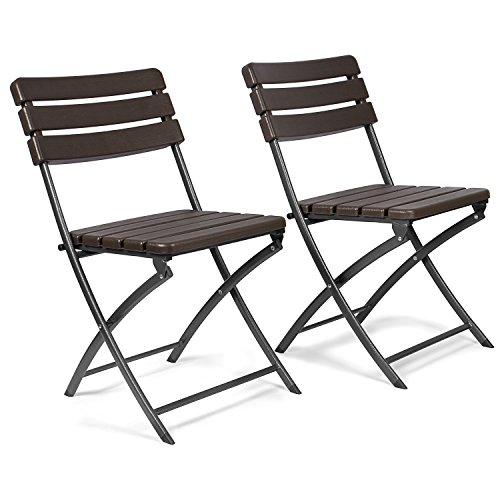 Vanage Gartenstuhl in braun - klappbare Gartenstühle im 2er Set - hochwertige Klappsessel in Holzoptik - Hochlehner - pflegeleichter Klappstuhl