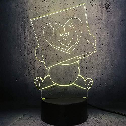 Lámpara De Ilusión 3D Luz De Noche Led Happy Winnie Niños Dormitorio Lámpara De Escritorio Decoración Ambiente Historia Mesita De Noche Lava Niños Exhibición De Lava Regalos De Exposición
