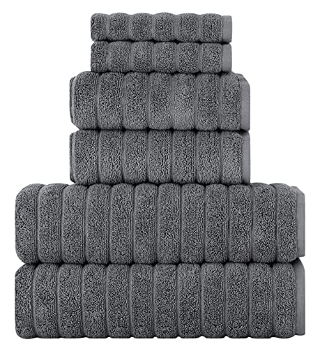 Classic Turkish Towels - 6 Piece Luxury Bath Towels Set - 100% Cotton, Quick Dry, Soft and Super Absorbent Bath, Hand and Washcloths Towels (2 Each), Grey