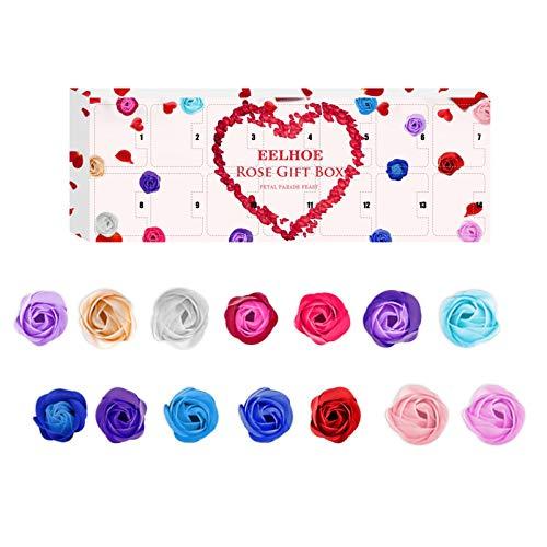 courti Jabón Baño Perfumado Pétalos Flores Rosa Regalos del Día De San Valentín, Caja De Rosas con 14 Rosas Infinitas De Cuadrícula, Fragancia Floral para Relajarse, Pétalos Vívidos Y Hermosos