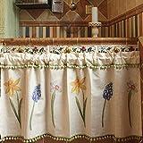 Unimall Tendine della Finestra a Vetro con Merletto 135x58cm Decorazione per Cucina Balcone Camera Parete