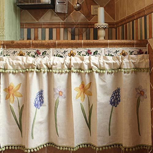Qucover Landhausstil Scheibengardine Kurzgardine für Küche Bistrogardine mit Blumenmuster B X H: 135 x 58 cm Blickdicht