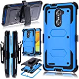 KooJoee Blue Armor Defender Case Compatible with ZTE Z MAX Pro Z981/Grand X Max 2/Imperial Max Z963U,Shockproof[Kickstand][Swivel Belt Clip] Full Body Holster Case with Built-in Screen Protector