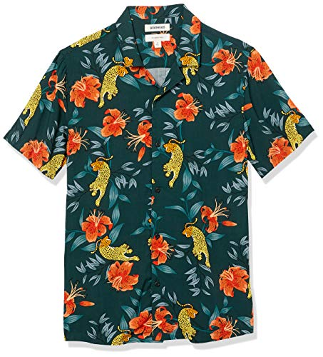 Amazon Brand - Goodthreads Men's Slim-Fit Short-Sleeve Camp Collar Hawaiian Shirt, Leopard Tiger Lily, X-Large