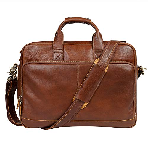 Genuine Leather Briefcase Messenger Bag Sturdy Durable Fits 17.3''Laptop No Fading (Red Brown)