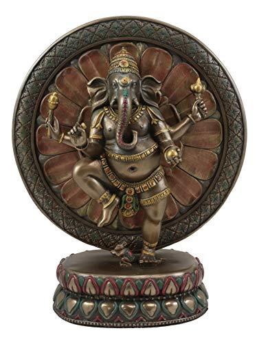 Ebros 9.25' Tall Hindu Supreme God Dancing Nritya Ganesha Chaturthi in One Legged Yoga Pose On Lotus Sun Disc Ohm Plaque Statue Patron of Success Arts and Wisdom Hinduism Vastu Altar Decorative