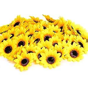 KINWELL 50pcs Artificial Silk Yellow Sunflower Heads 2.8″ Fabric Floral for Home Decoration Wedding Decor, Bride Holding Flowers,Garden Craft Art Decor