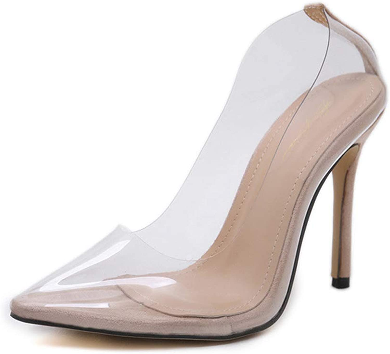 Drew Toby Women Pumps Transparent Pointed-Toe Shallow Mouth Fashion Simple High Heels